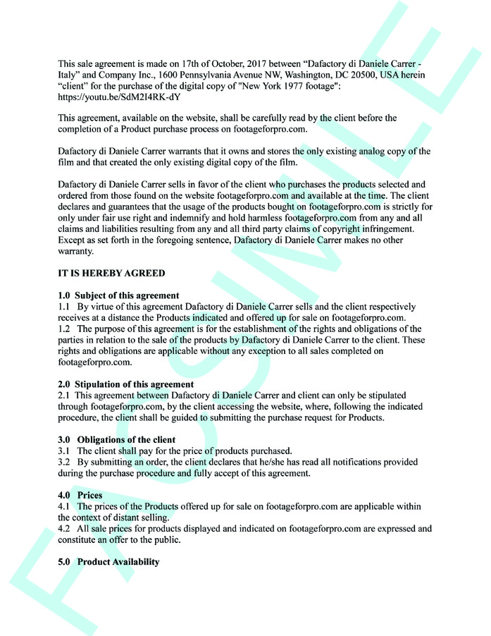 This Is A Facsimile Of The Sale Agreement For Purchase Digital Copy Footage Published On Website