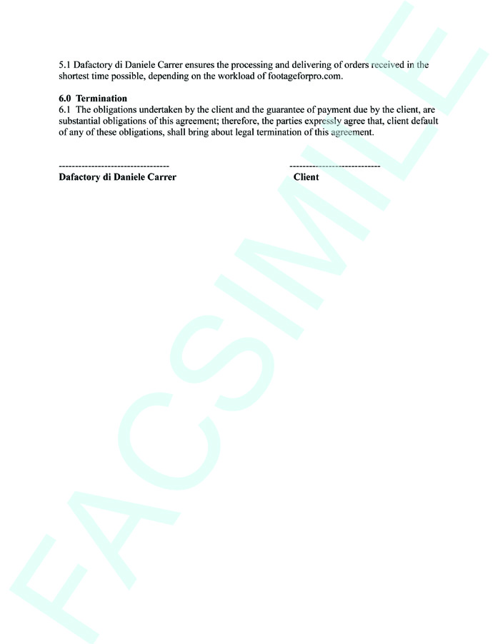 Sale agreement facsimile of footageforpro.com
