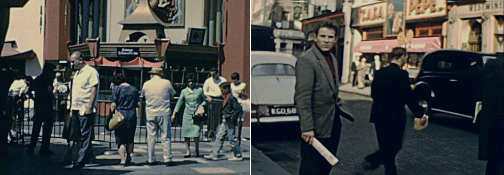 Frames from historical footage shot in New York in 1964 e London in 1959