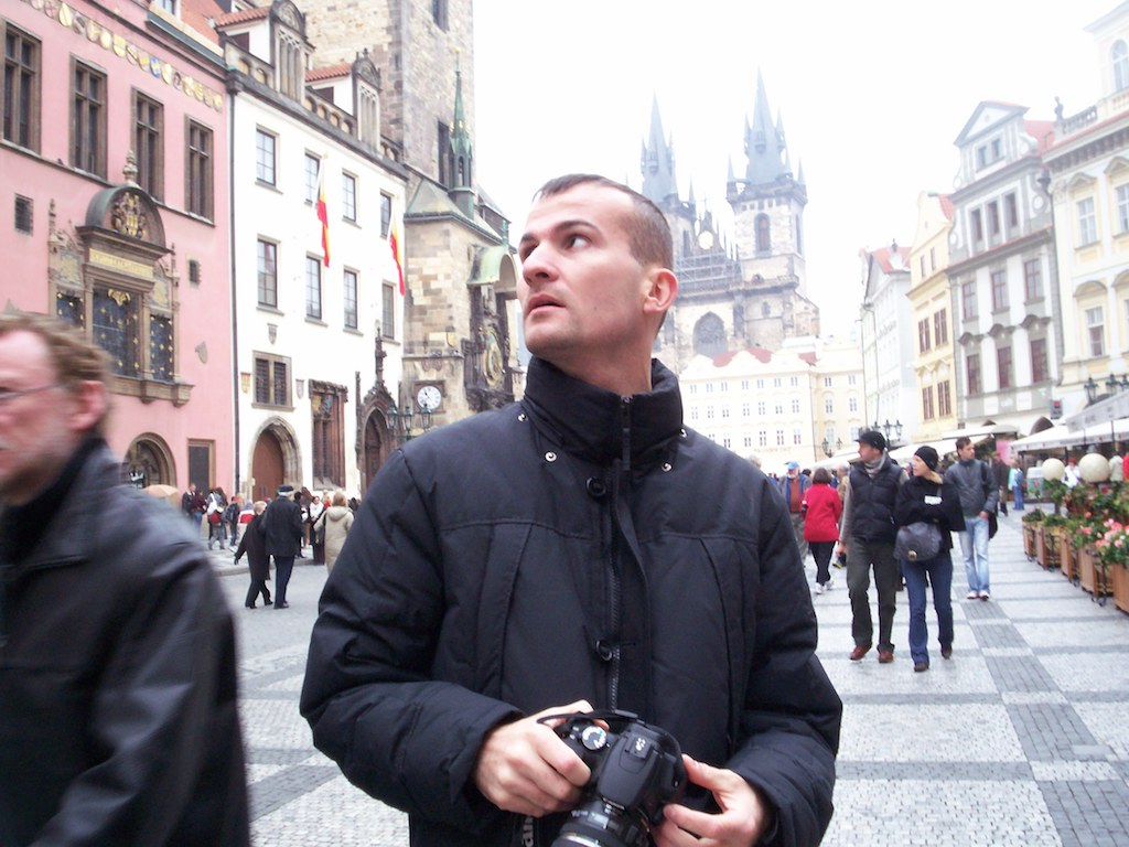 Daniele Carrer in Prague with his camera while shooting stock fimage