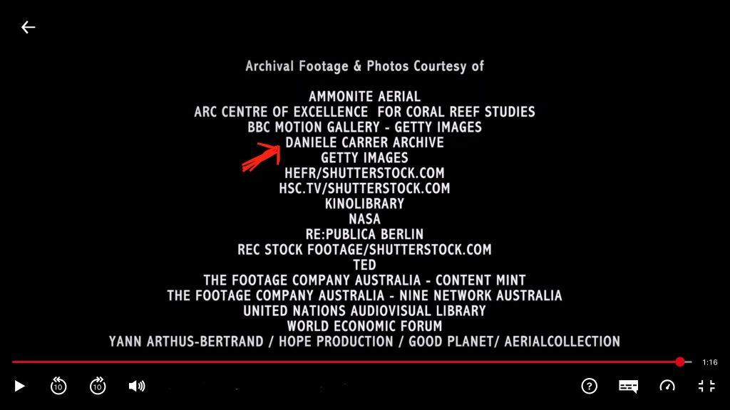Final Credits of a Netflix Original documentary